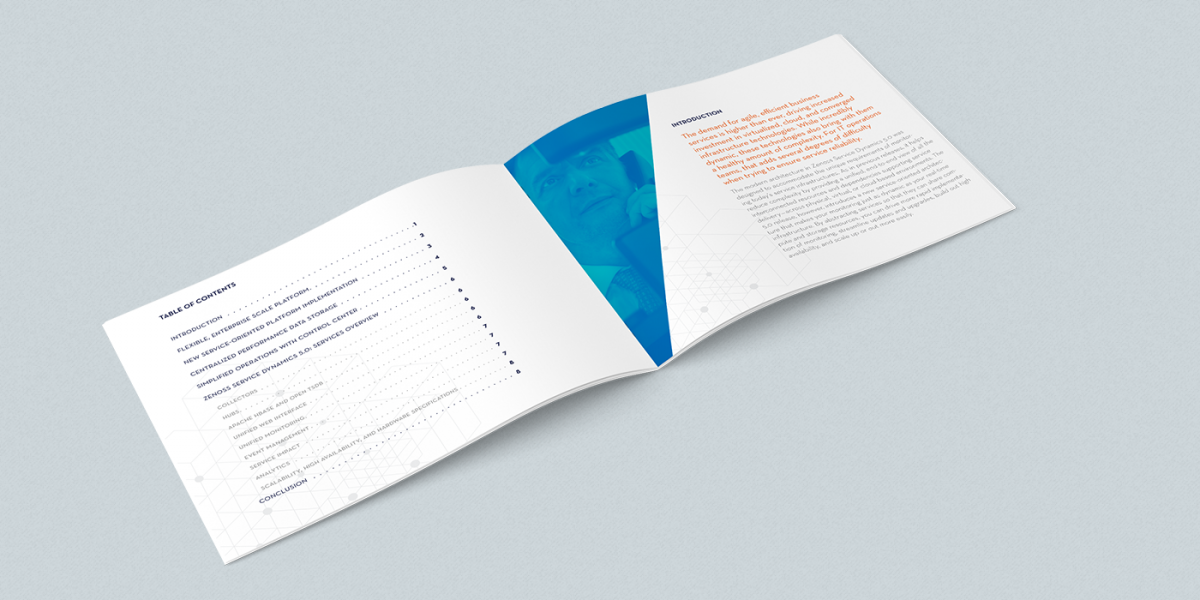 2-page spread of Zenoss whitepaper I designed