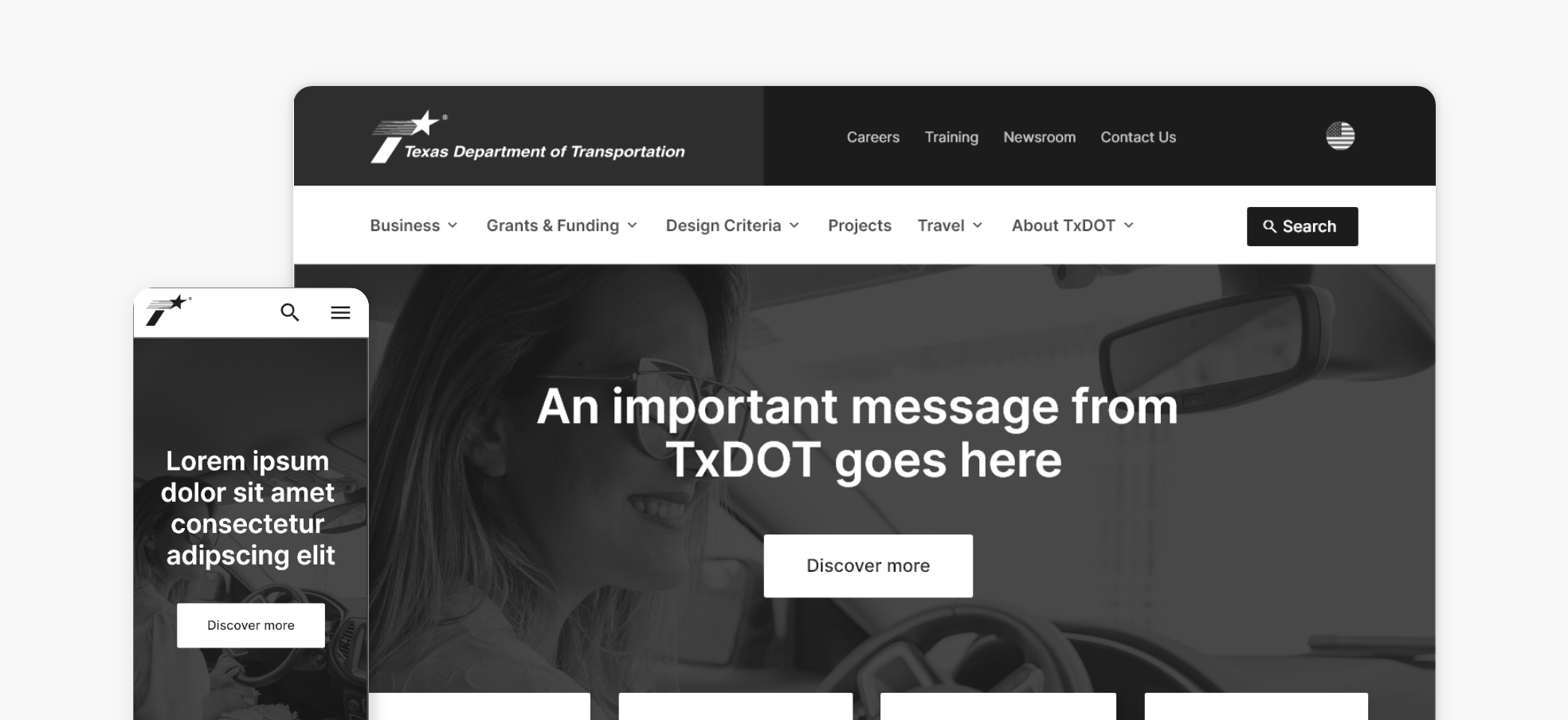 Side-by-side image of TxDOT homepage wireframe on mobile and desktop