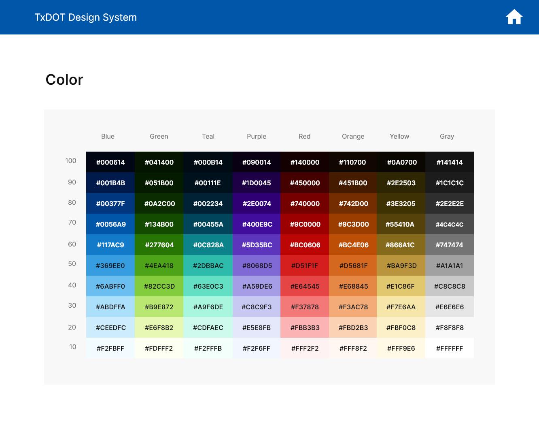 TxDOT Design System Color Palette