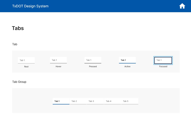 TxDOT Design System Tab Component
